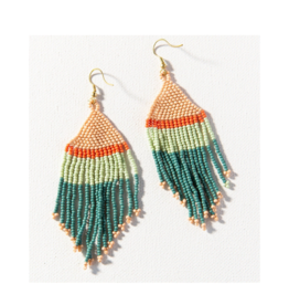 Teal, Pink and Mint with Coral Stripe Fringe Earring