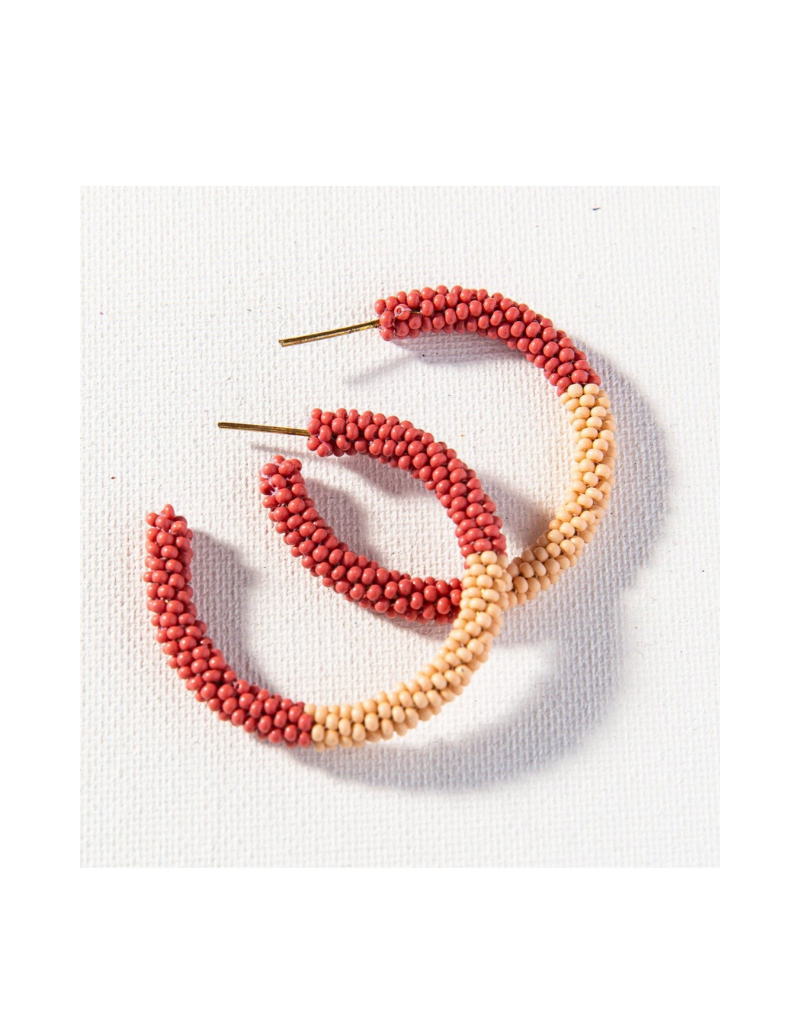 Terra Cotta and Pink Color Block Hoop Earring Small