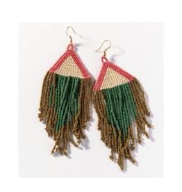 Terra Cotta Ivory Emerald Gold Fringe Earring