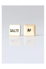 Salty AF, Hand Stamped Earrings