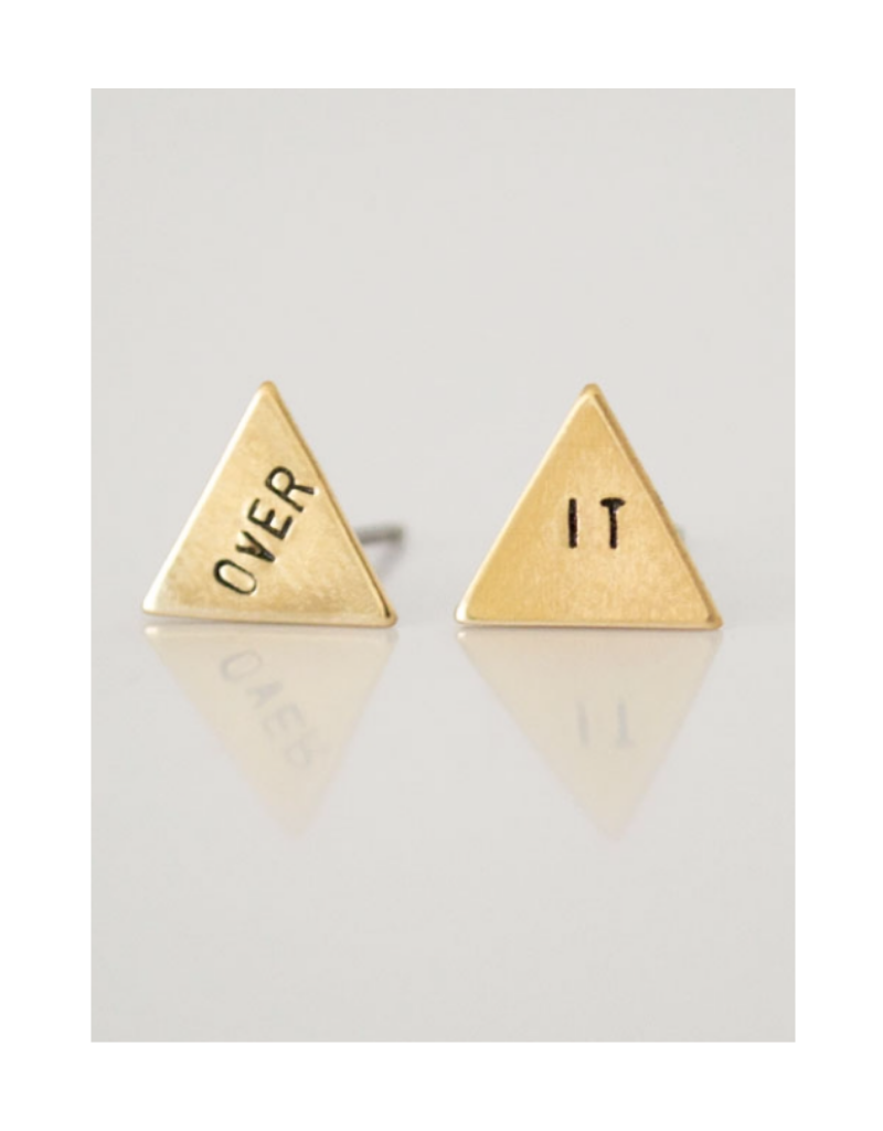 OVER IT, hand stamped triangle earrings
