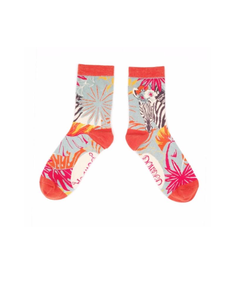 Ladies Ankle Socks Floral Zebra