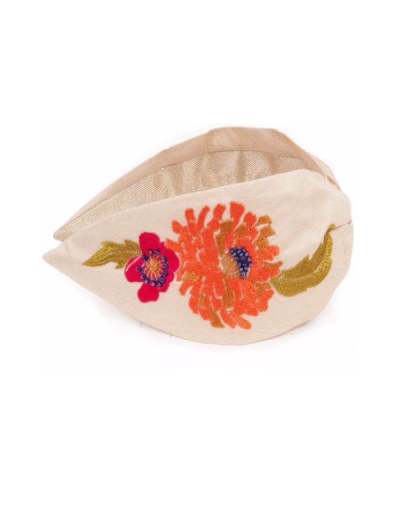 Embroidered Headband Retro Meadow Cream