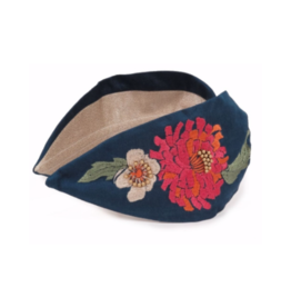 Embroidered Headband Retro Meadow Teal