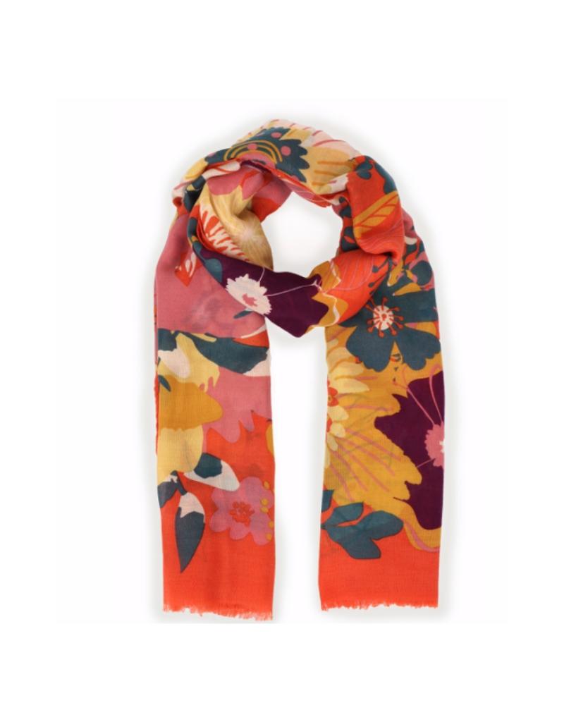 Modern Floral Print Tangerine