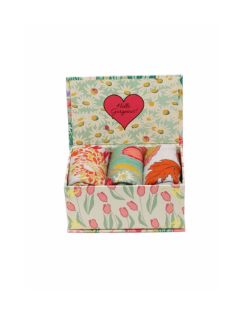Ladies Sock Gift Box Cottage Green