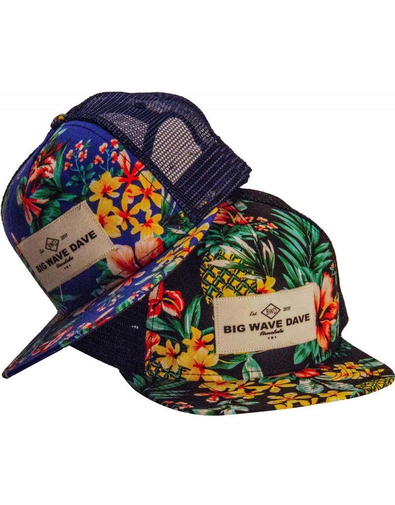 Big Wave Dave BWD Black Hawaiian Trucker Hat