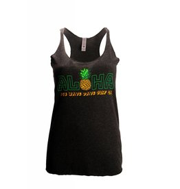 Big Wave Dave BWD Green Aloha Women Racer Tank