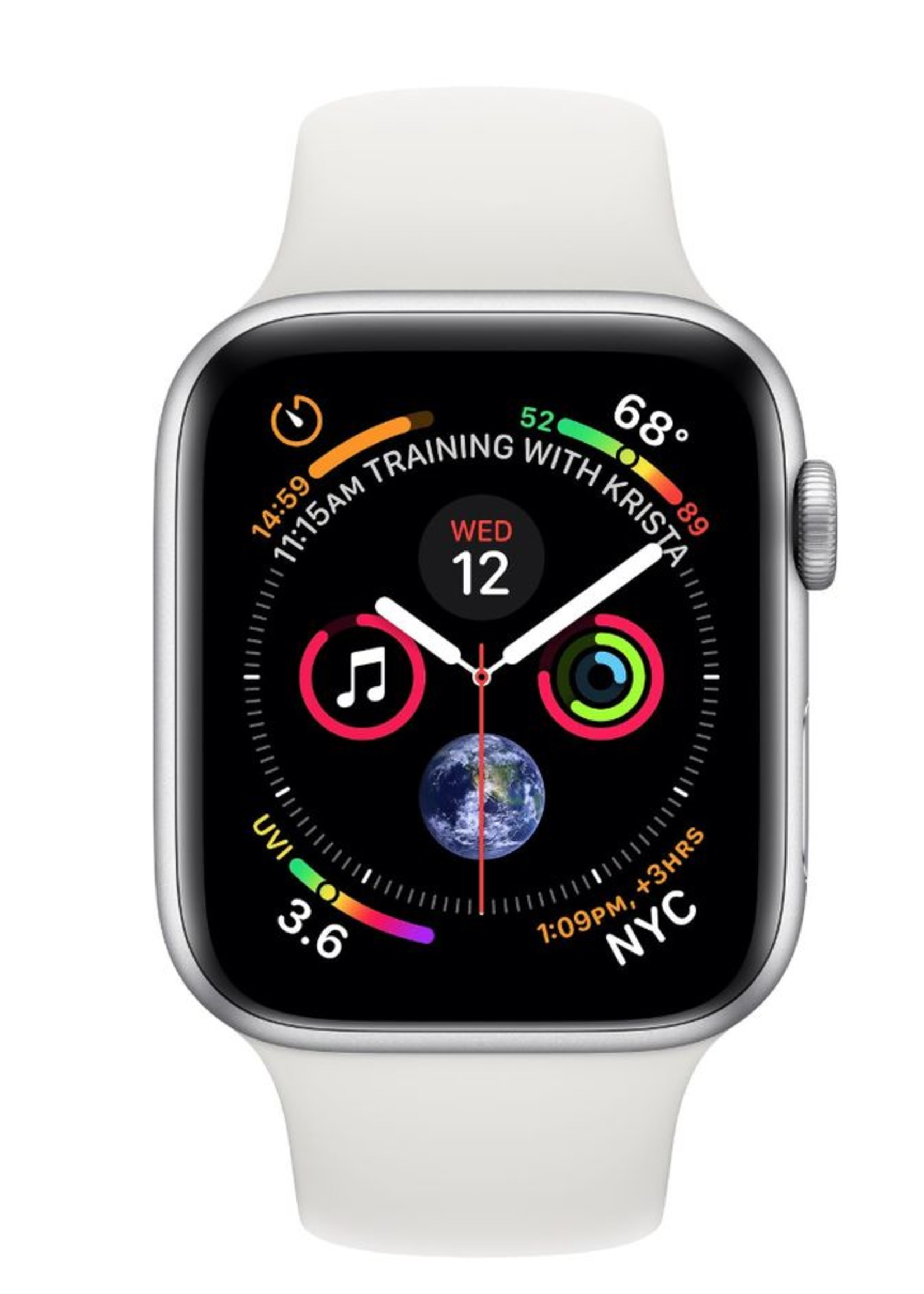 Apple Watch 4 GPS, 44 mm Silver Aluminum Case with White Sport Band