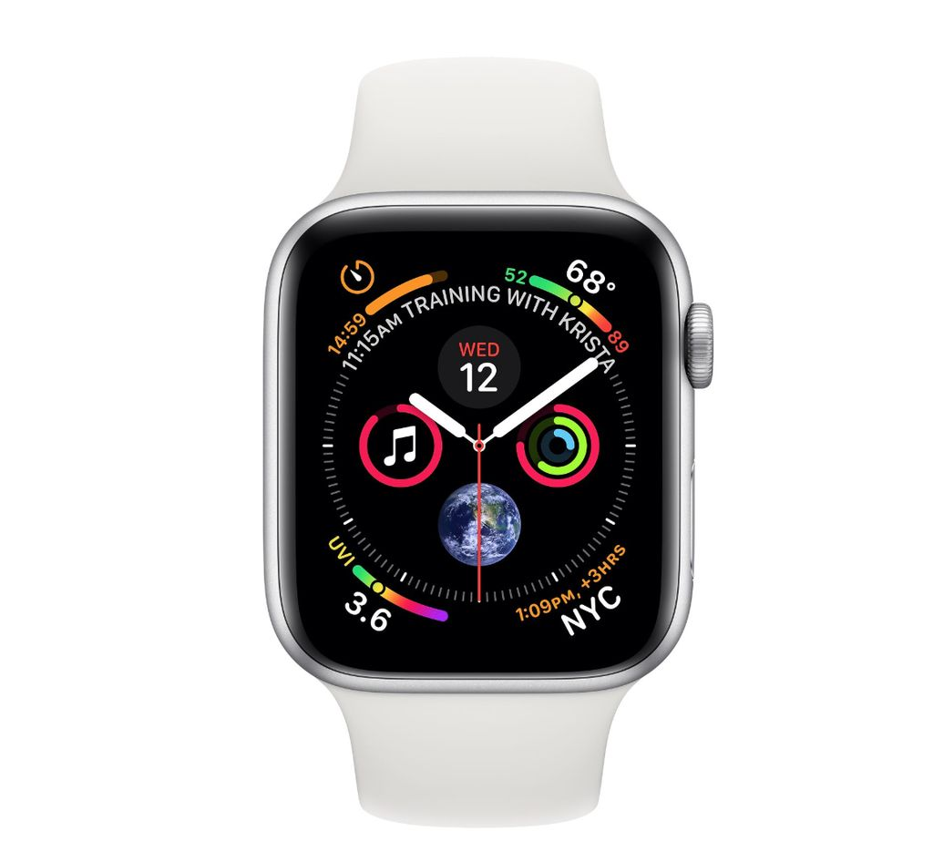 Apple Apple Watch 4 GPS +Cellular, 44mm Silver Aluminum Case with White Sport Band