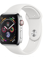 Apple Watch 4 GPS + Cellular, 44mm Stainless Steel Case with White Sport Band