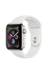 Apple Apple Watch 4 GPS + Cellular, 44mm Stainless Steel Case with White Sport Band
