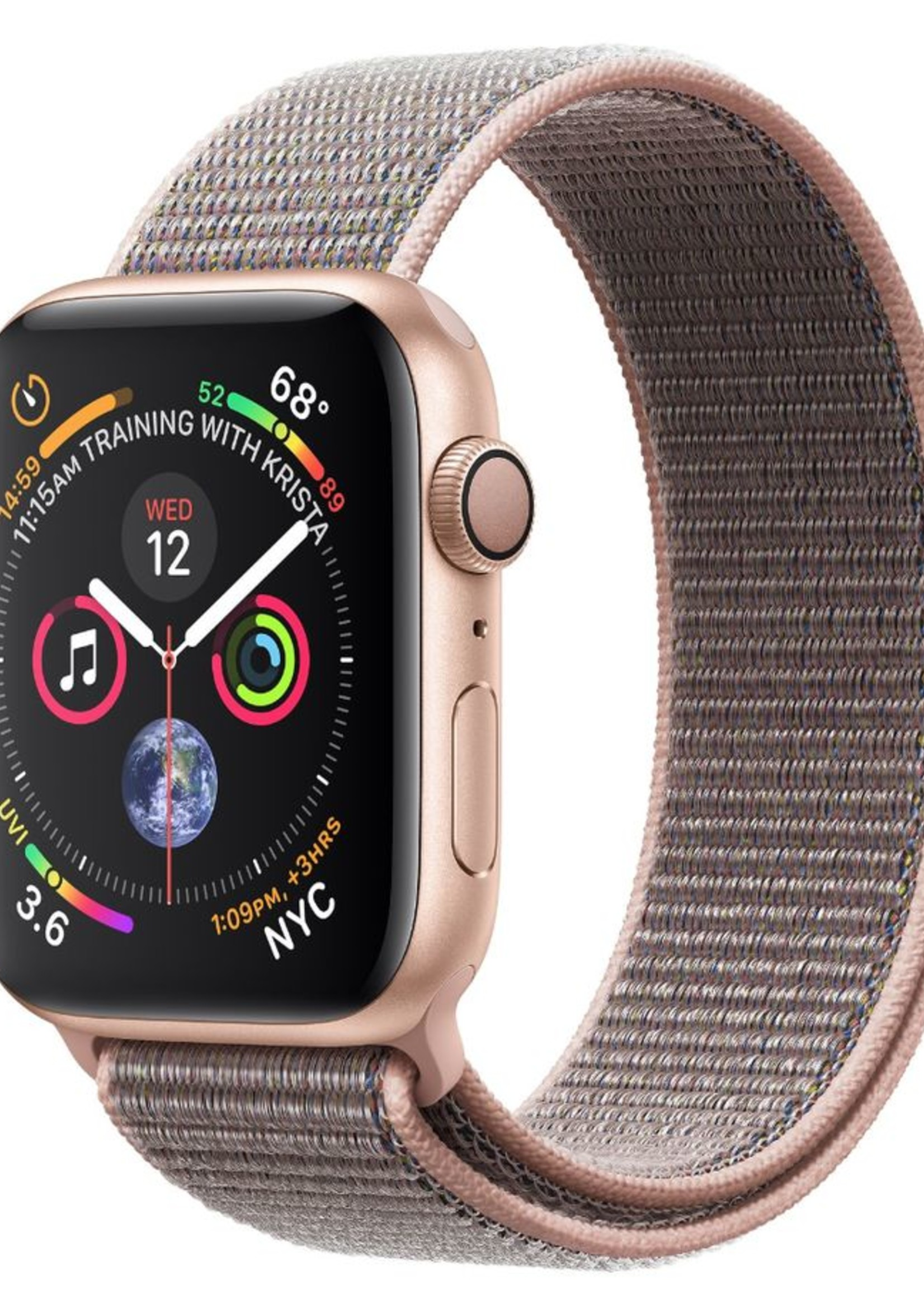 Apple Watch 4 GPS 44mm Gold Aluminum Case with Pink Sand Sport Loop