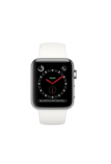 Apple AppleWatch Series 3 GPS+Cellular 38mm Stainless Steel Case w/ White Sport Band