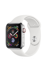 Apple Apple Watch 4 GPS + Cellular 40mm Stainless Steel Case with White Sport Band