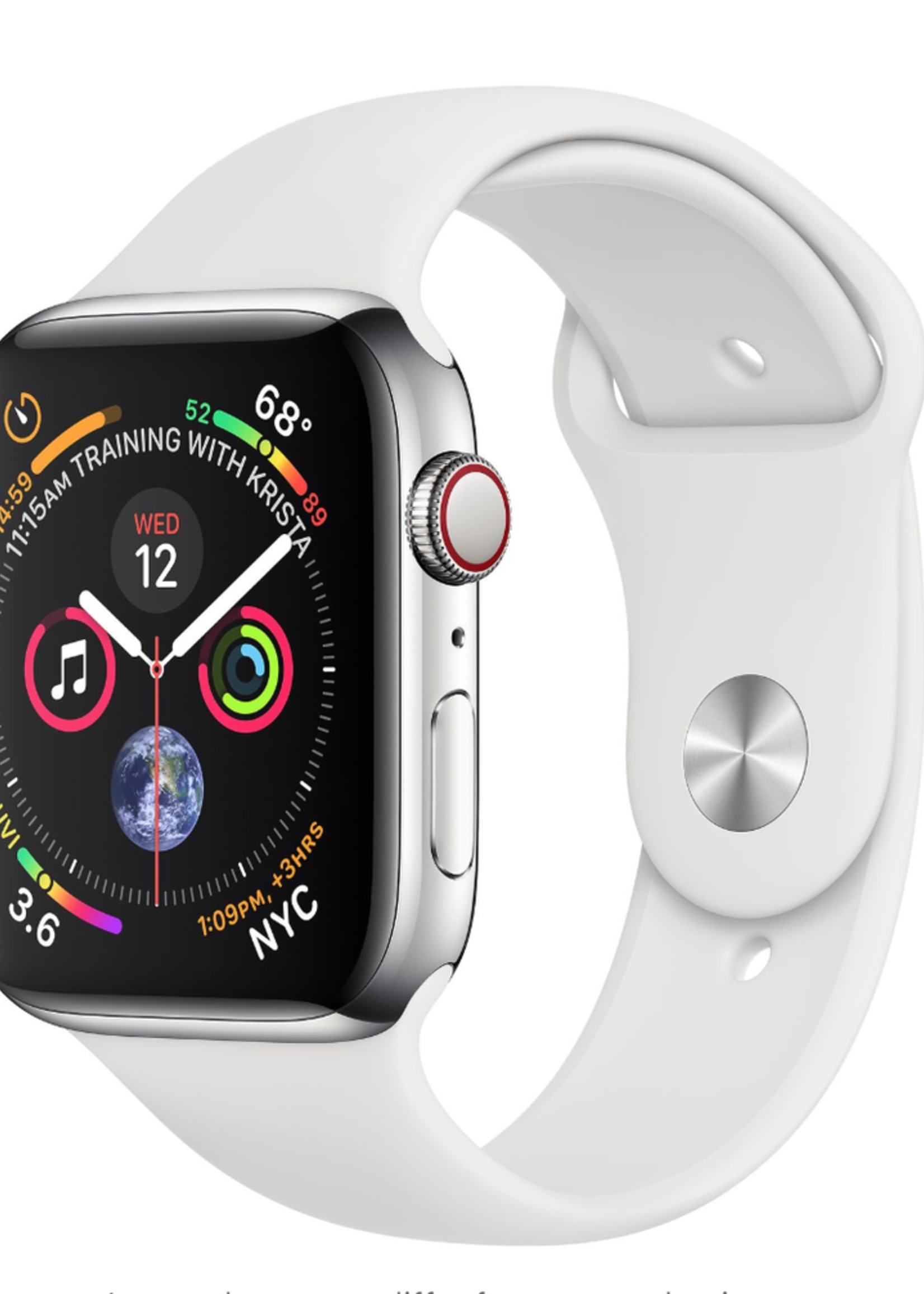 Apple Watch 4 GPS + Cellular 40mm Stainless Steel Case with White Sport Band