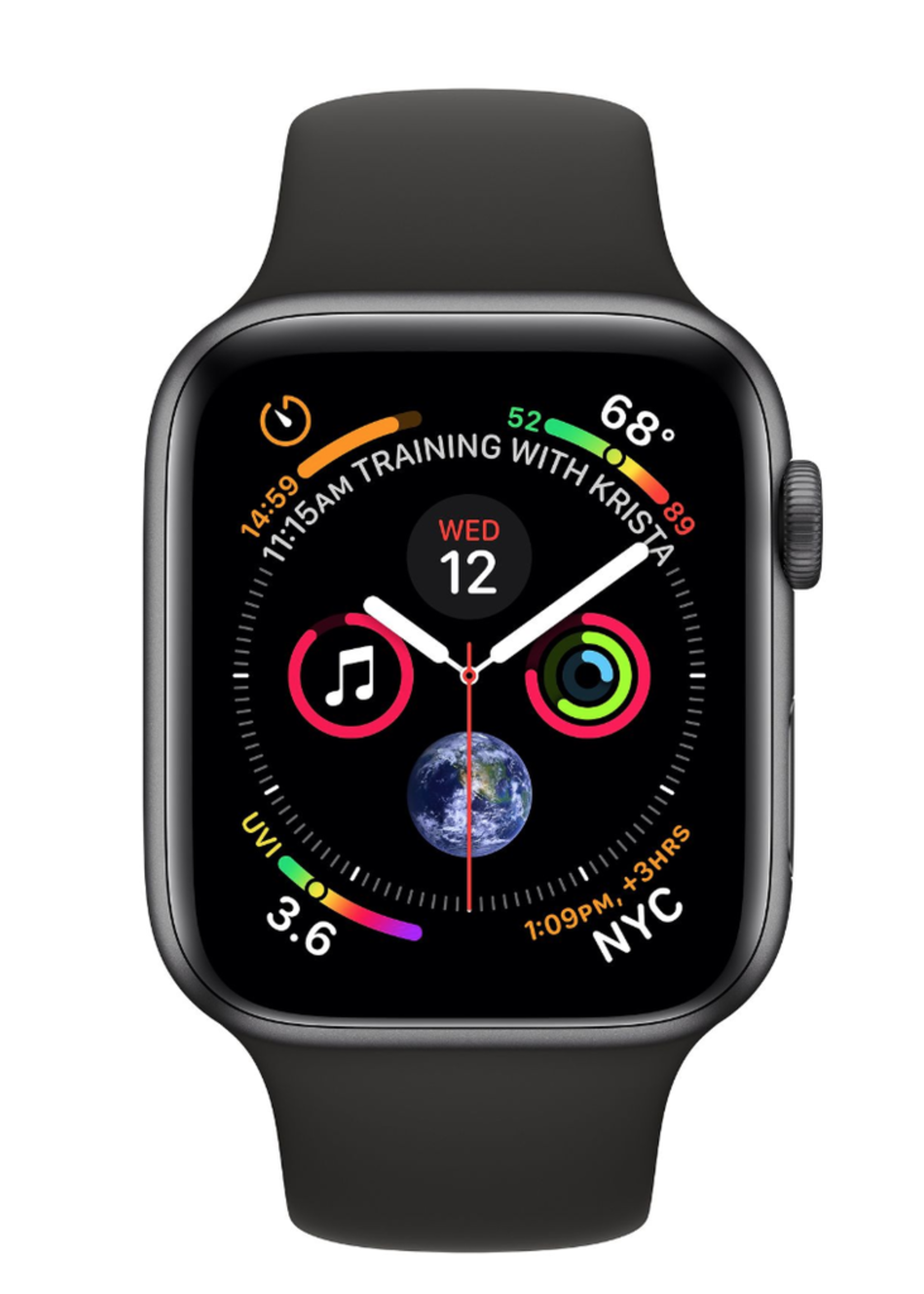Apple Watch 4 GPS + Cellular, 44mm Space Grey Aluminum Case with Black Sport Band