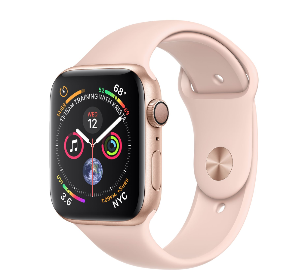 Apple Apple Watch 4 GPS + Cellular, 44mm Gold Aluminum Case with Pink Sand Sport Band