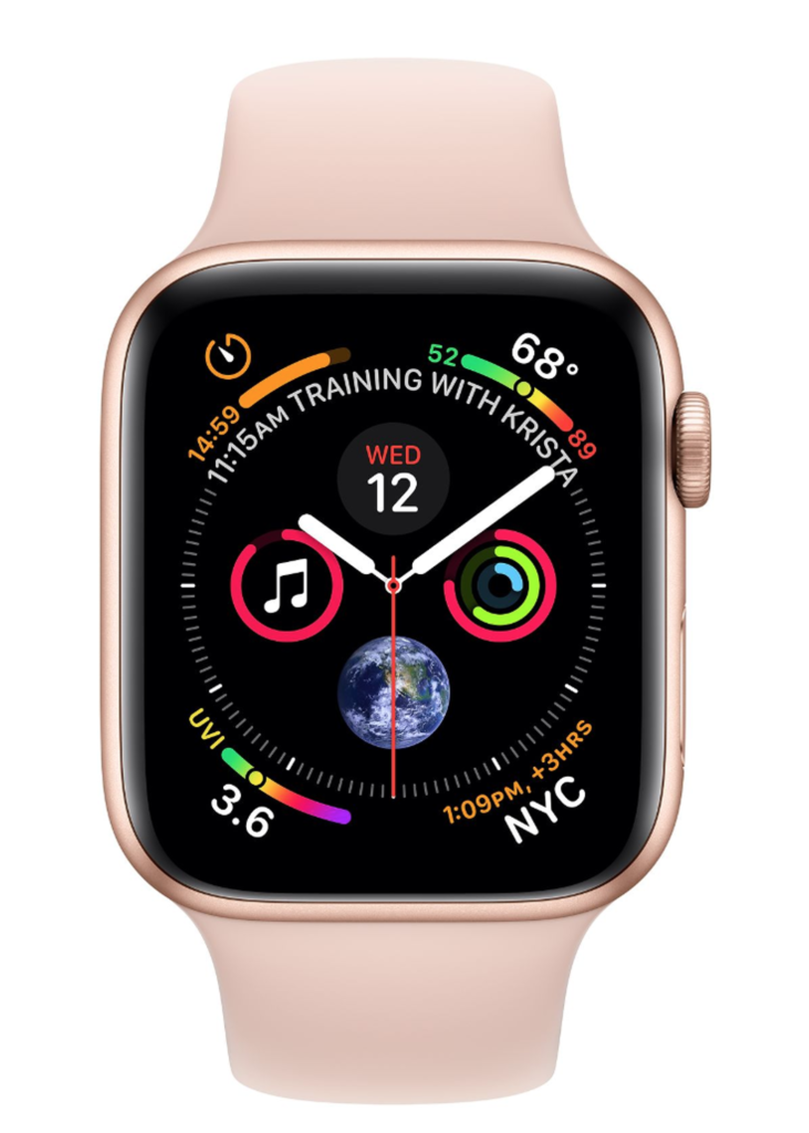 Apple Watch 4 GPS + Cellular, 44mm Gold Aluminum Case with Pink Sand Sport Band