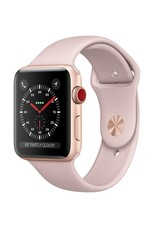 Apple AppleWatch Series 3 GPS+Cellular 38mm Gold Aluminum Case w/ Pink Sand Sport Band