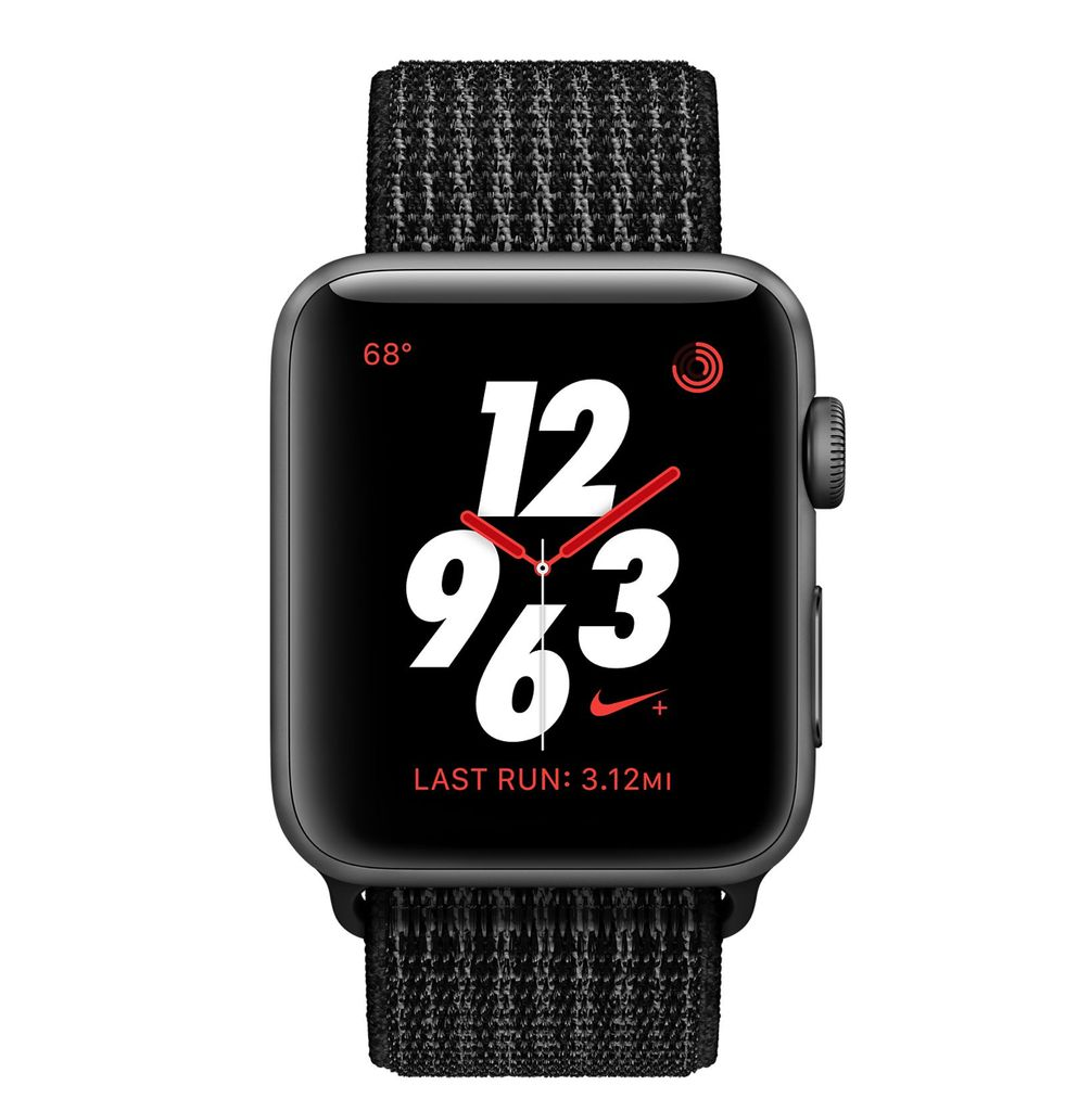 Apple AppleWatch Nike+GPS+Cellular 38mm Space Gray Aluminum Case w/Black/Pure Plattinum Nike Sport Loop
