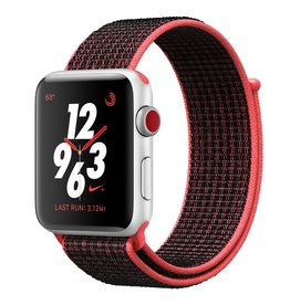 Apple Apple Watch Nike+ - GPS + Cellular - 38mm - Silver Aluminum Case with Bright Crimson/Black Sport Loop