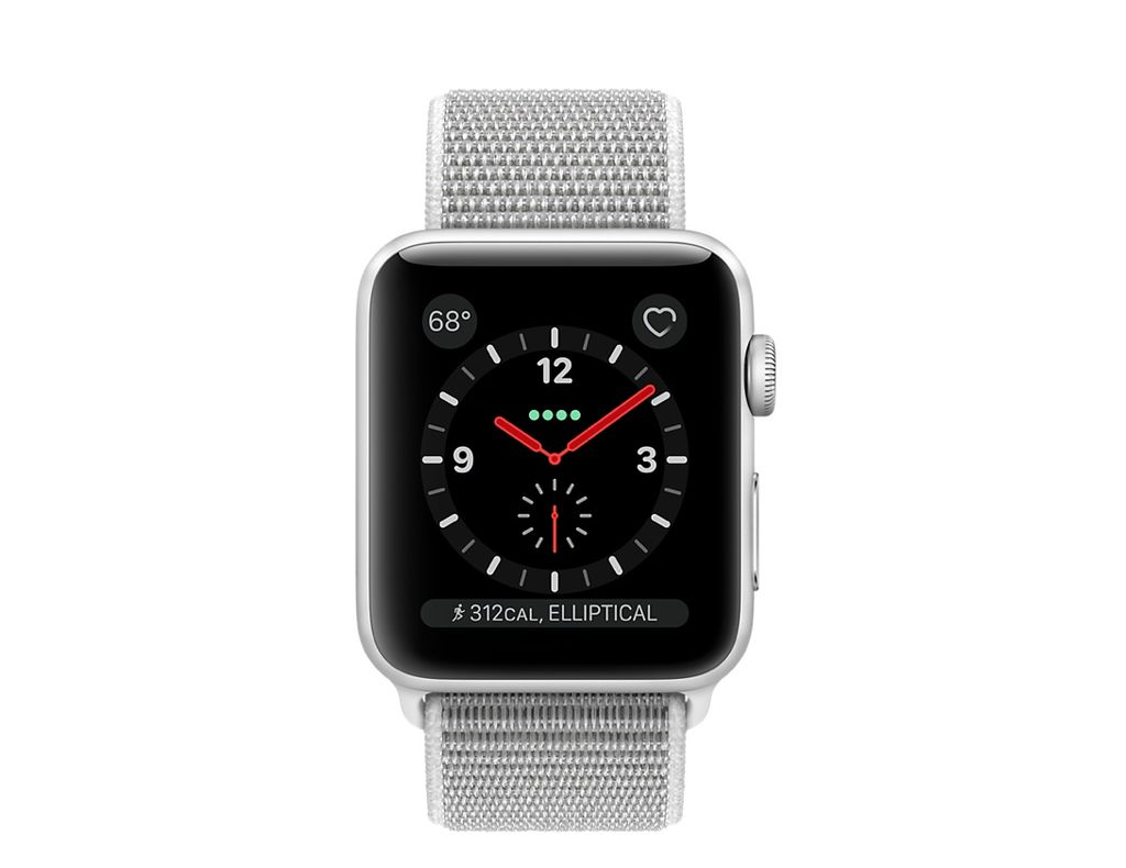 Apple AppleWatch Series3 GPS+Cellular 38mm Silver Aluminum Case w/Seashell Sport Loop Band