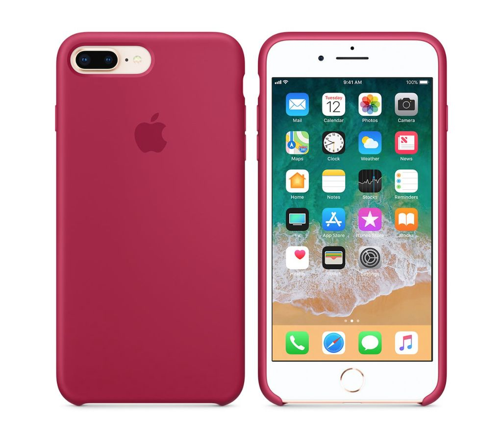 new product 4b096 de358 iPhone 8 Plus/7 Plus Silicone Case - Rose Red