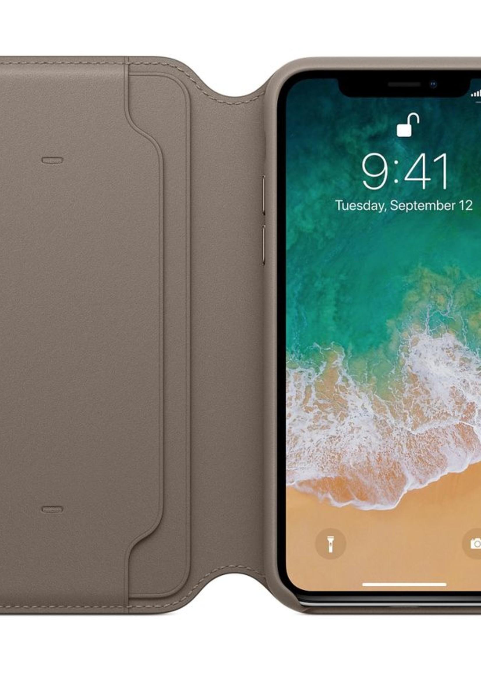 iPhone X Leather Folio - Taupe