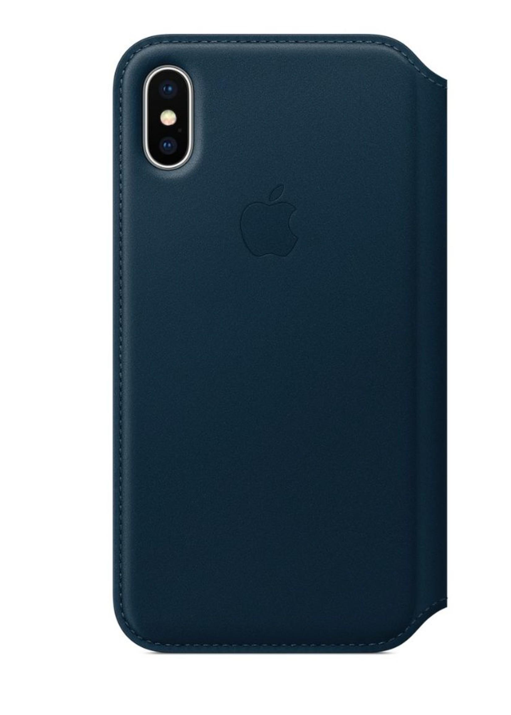 iPhone X Leather Folio - Cosmos Blue