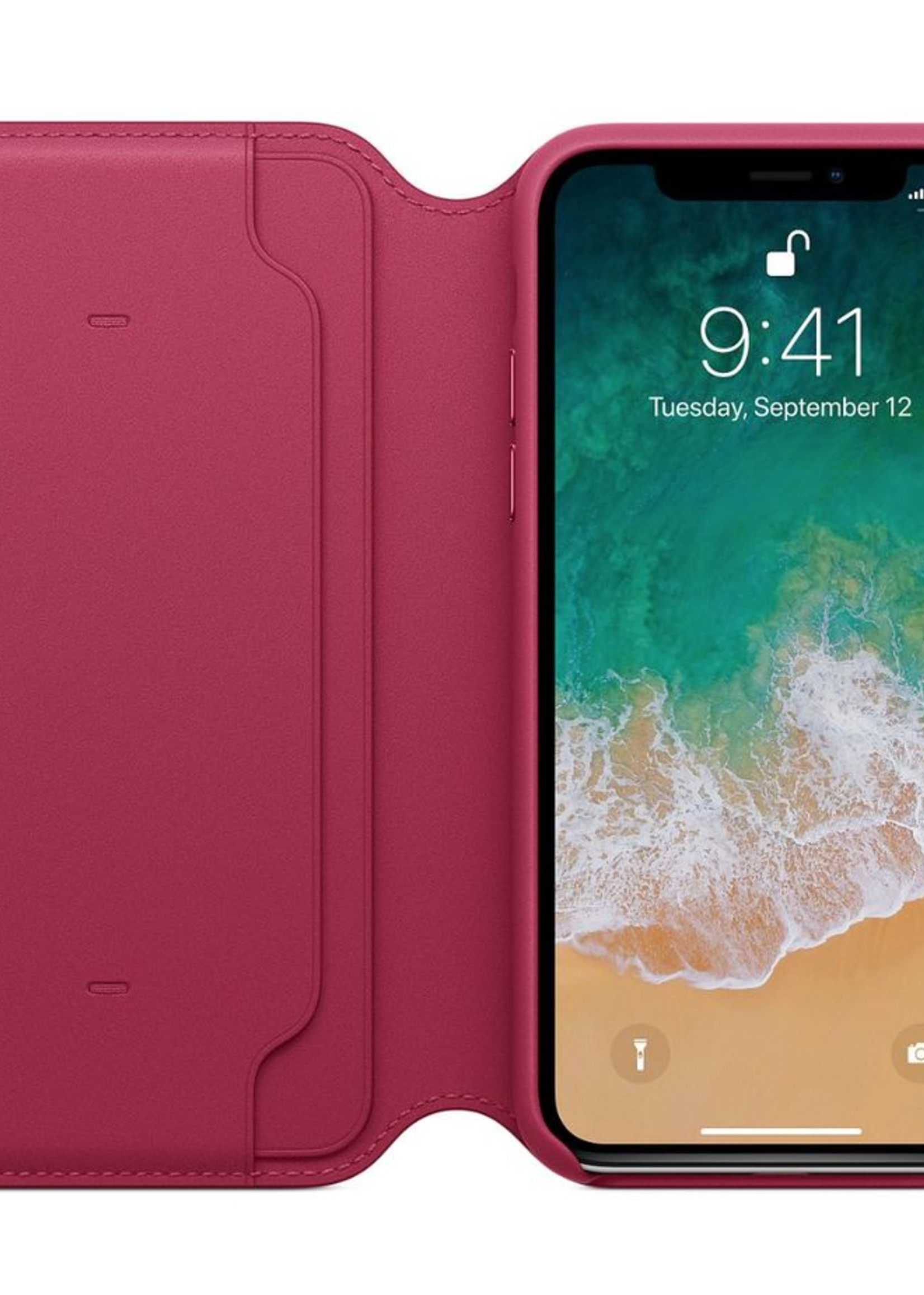 iPhone X Leather Folio - Berry