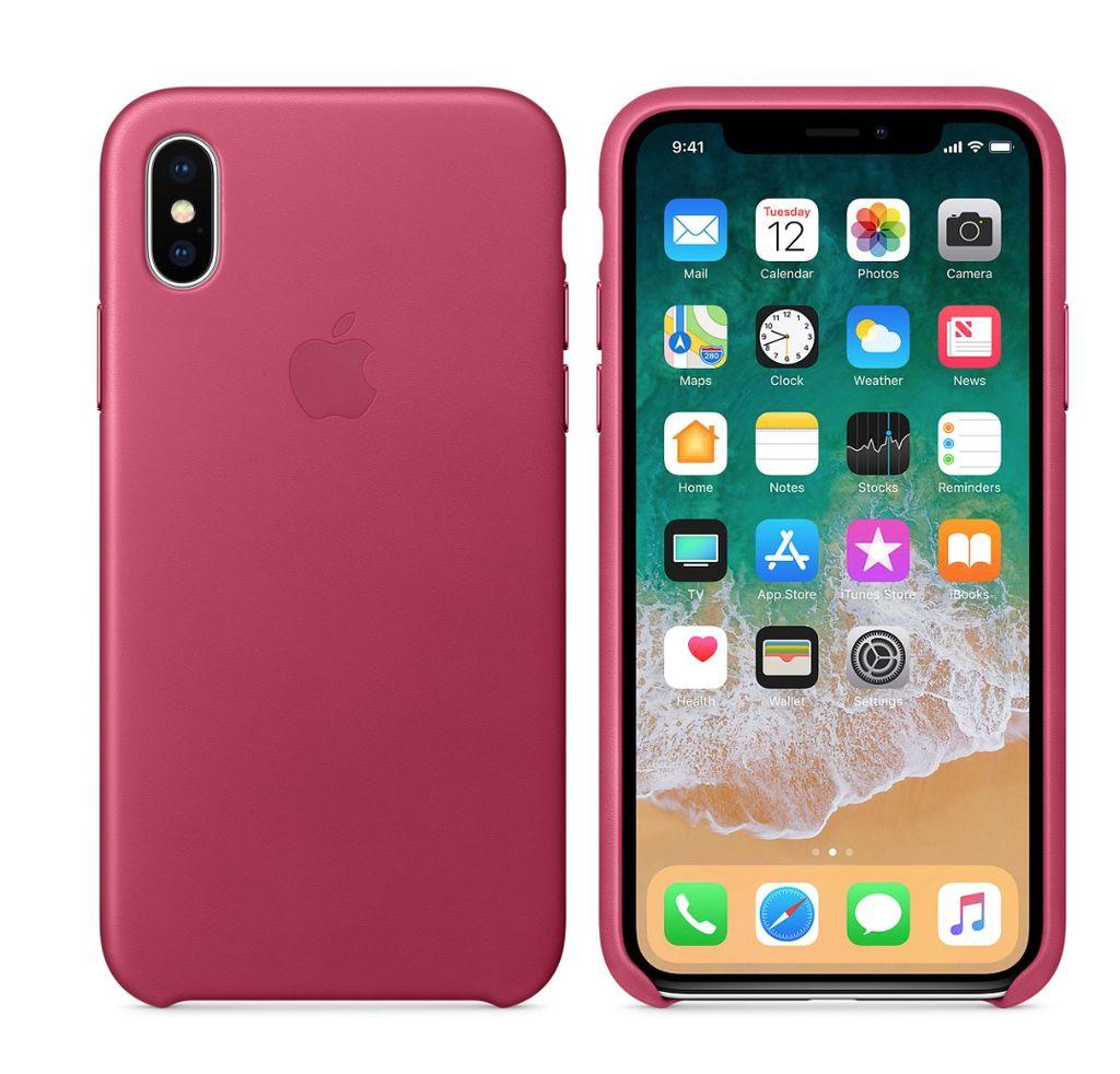 sale retailer 29ea5 85ff1 Apple iPhone X Leather Case - Pink Fuchsia