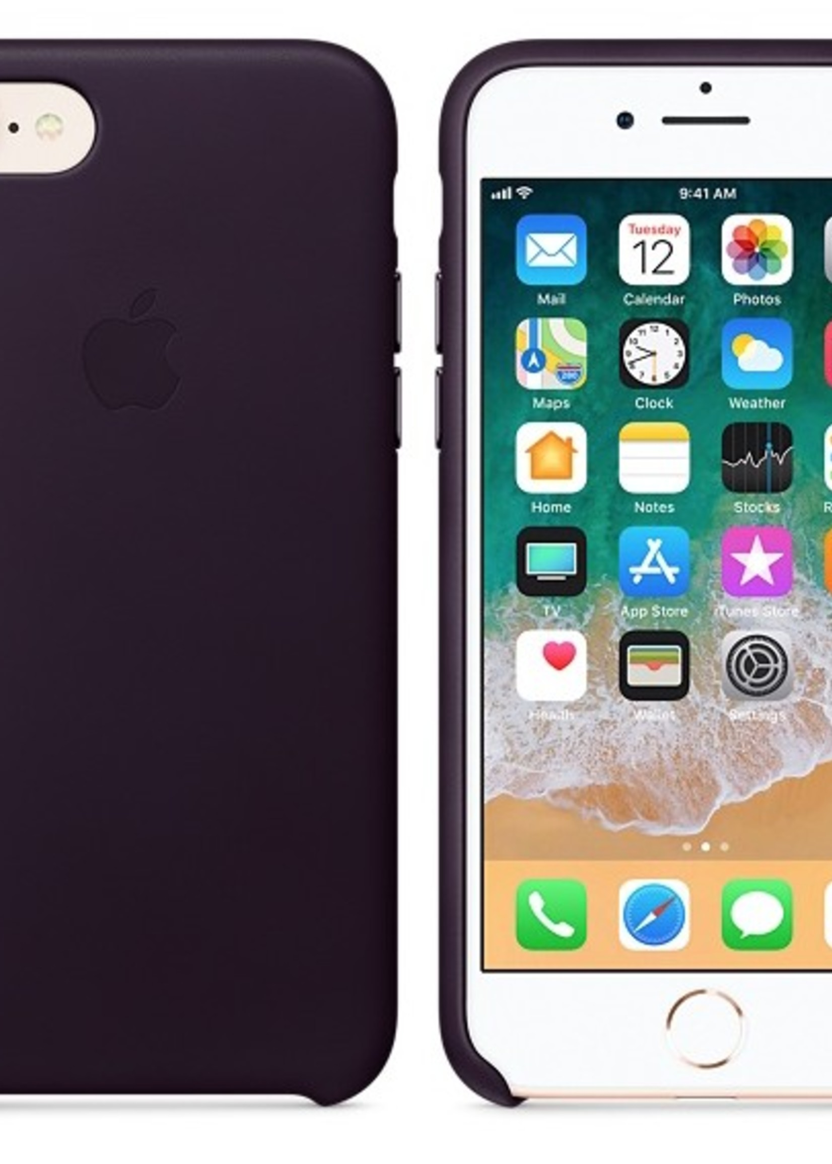 iPhone 8/7 Leather Case - Dark Aubergine