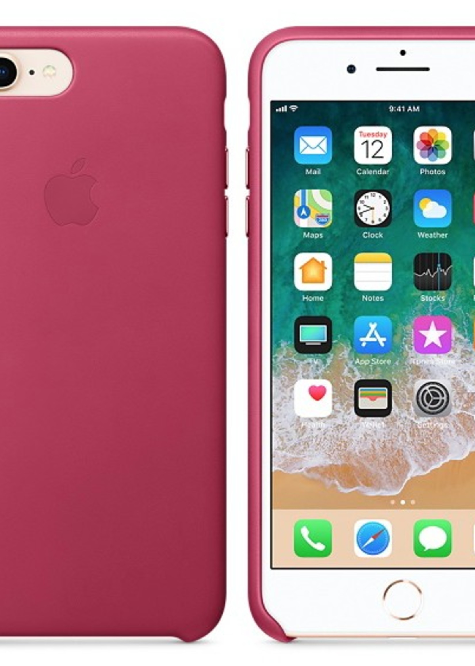 iPhone 8 Plus/7 Plus Leather Case - Pink Fushia