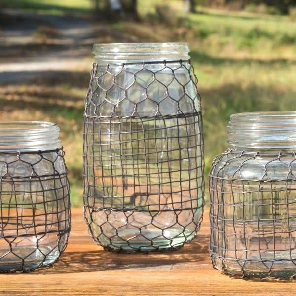 Primitive Wire Covered Flower Jar