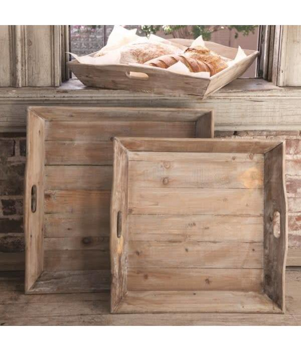 Park Hill Reclaimed Wood Square Tray Small YF7823