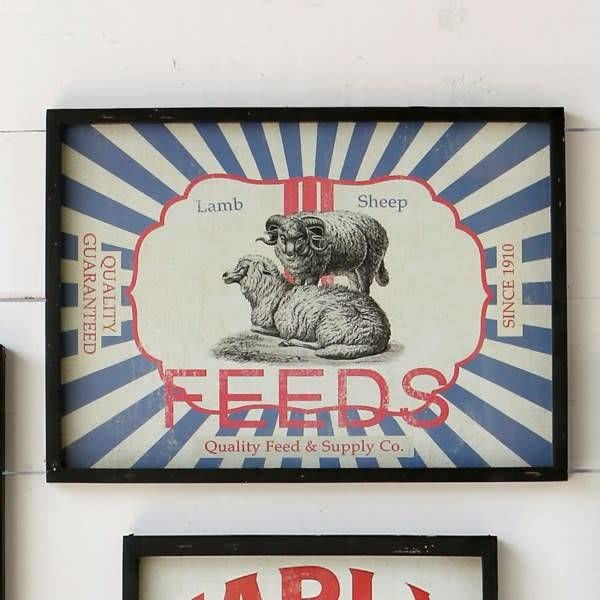 Framed Feedsack Sheep Feed IM6533