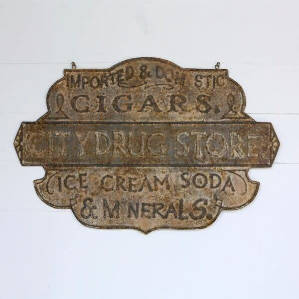 Embossed Metal Drug Store Sign HX6384