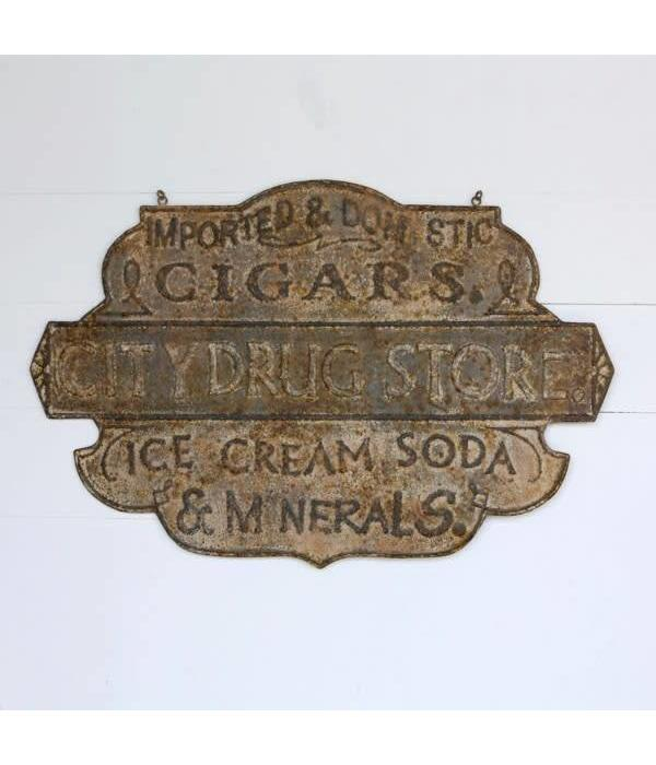 Park Hill Embossed Metal Drug Store Sign HX6384
