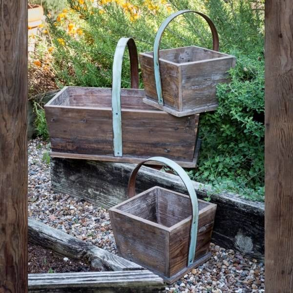 Wooden Deep Tote Baskets Set of 3 LW6174