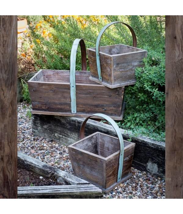 Park Hill Wooden Deep Tote Baskets Set of 3