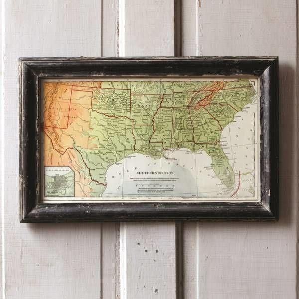 Framed Map of the South ET1011