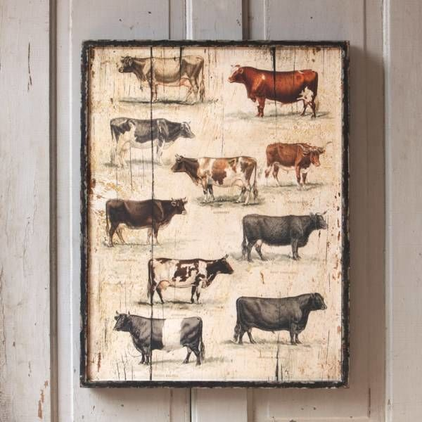 Framed Vintage Cow Breeds