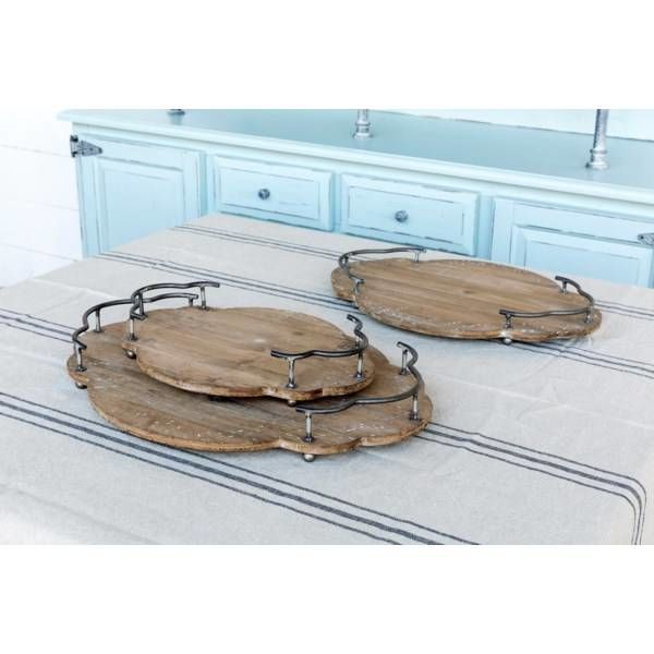 Set of 3 Wooden Bistro Trays LL2280