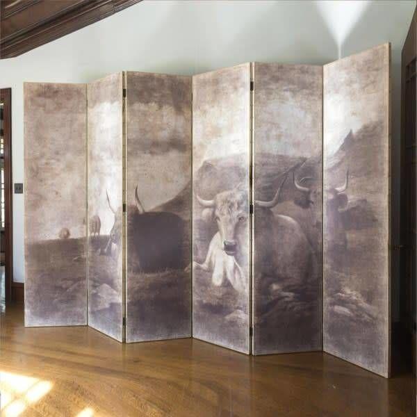 Aged Scenic Folding Screen