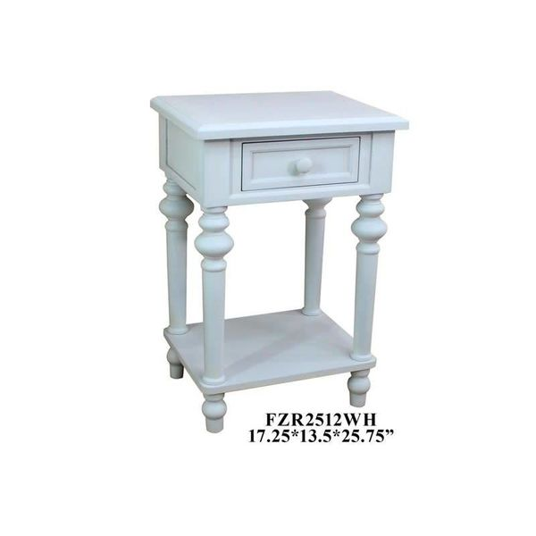 1 Drawer Side Table White FZR2512WH