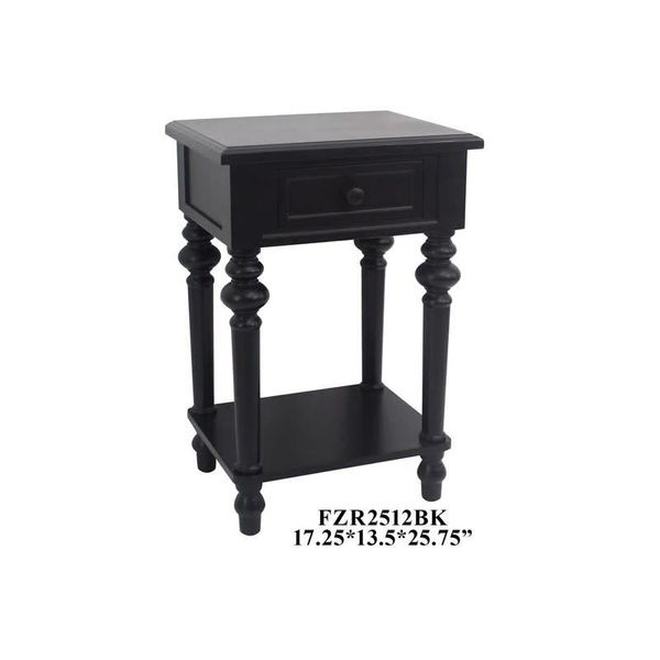1 Drawer Side Table Black FZR2512BK
