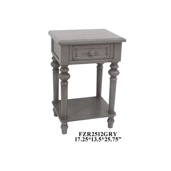 1 Drawer Side Table Gray FZR2512GRY