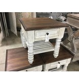 Farmhouse by Head Springs Depot Farmhouse Stone White End Table Oak Top