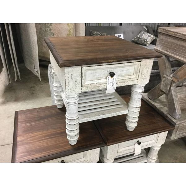 Farmhouse Stone White End Table Oak Top